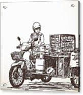 Asian Street Food On Motorbike, Hand Acrylic Print