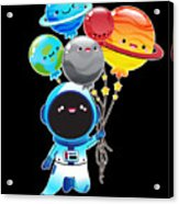 Astronaut With Planet Balloons Outta Space Acrylic Print