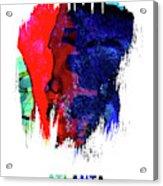 Atlanta Skyline Brush Stroke Watercolor   Acrylic Print