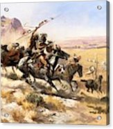 Attack On The Wagon Train Acrylic Print