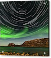 Aurora Borealis With Startrails Acrylic Print