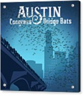 Austin Congress Bridge Bats In Blue Silhouette Acrylic Print
