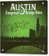 Austin Congress Bridge Bats In Green Silhouette Acrylic Print