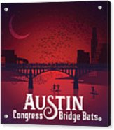 Austin Congress Bridge Bats In Red Silhouette Acrylic Print