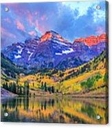 Autumn Colors At Maroon Bells And Lake Acrylic Print