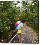 Autumn  Fall Concept - Woman Walking In Acrylic Print