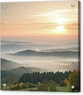 Autumn Foggy Sunrise Acrylic Print