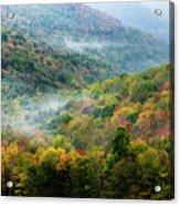 Autumn Hillsides With Mist Acrylic Print