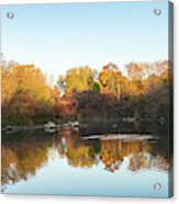 Autumn Mirror - Silky Wavelets Caused By Ducks Acrylic Print