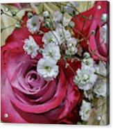 Baby's Breath And Roses Acrylic Print