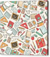 Back To School Seamless Pattern With Acrylic Print