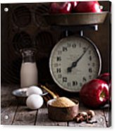 Baking Ingredients On Rustic Table Acrylic Print