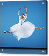 Ballerina Leaping On Stage, Arms Raised Acrylic Print