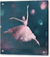 Ballet Dancer Pink And Peacock Blue Acrylic Print