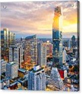 Bangkok City At Sunset, Mahanakorn Acrylic Print