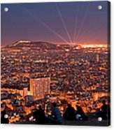 Barcelona At Night With People Acrylic Print