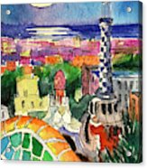Barcelona By Moonlight Watercolor Painting By Mona Edulesco Acrylic Print