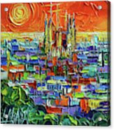 Barcelona Orange View - Sagrada Familia View From Park Guell - Abstract Palette Knife Oil Painting Acrylic Print