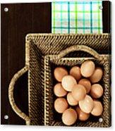 Basket Of Brown Eggs Acrylic Print