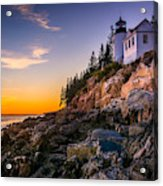 Bass Harbor Lighthouse At Sunset, In Acrylic Print