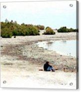 Beach Goers-The Salton Sea in Digital Watercolor Acrylic Print