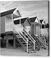 Beach Huts Sunset In Black And White Acrylic Print