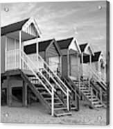 Beach Huts Sunset In Black And White Square Acrylic Print