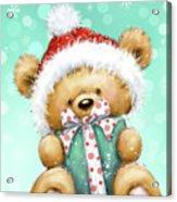 Bear With Green Presnt Acrylic Print