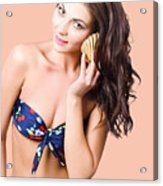 Beautiful Beach Babe Over Studio Background Acrylic Print