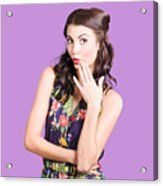 Beautiful Girl With Red Lips Expressing Surprise Acrylic Print