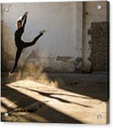 Beautiful Young Ballerina Dancing In Acrylic Print