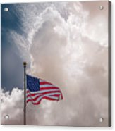 Beautifully Waves - U S Flag And Clouds Acrylic Print
