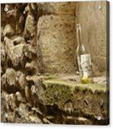 beer bottle left in old lane in Edinburgh Acrylic Print