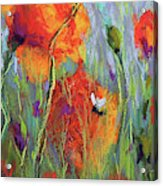 Bees And Poppies Acrylic Print