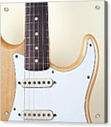Beige Wood Textured Electric Guitar Acrylic Print