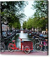 Bicycles Parked On Bridge Over Acrylic Print