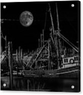 Black And White Art Fishing Boat And Full Moon Acrylic Print