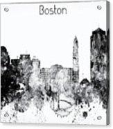 Black And White Boston City Skyline Acrylic Print