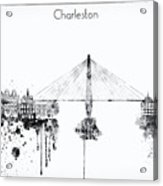 Black And White Charleston City Skyline Acrylic Print