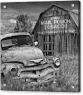 Black And White Of Rusted Chevy Pickup Truck In A Rural Landscape By A Mail Pouch Tobacco Barn Acrylic Print