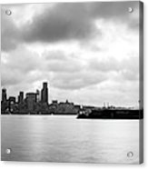 Black And White Panorama Of Seattle Skyline Reflected On The Bay Acrylic Print