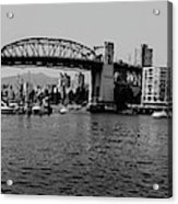 black and white panorama of Vancouver from plaza of nations showing the beautiful city Acrylic Print