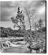 Black And White Photograph Of Link Falls At Bull Creek District Park Greenbelt - Austin Texas Acrylic Print