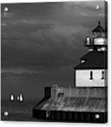 Black And White Regatta On Lake Superior Acrylic Print