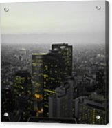 Black And White Tokyo Skyline At Night With Vibrant Selective Yellow Colors Acrylic Print