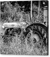 Black And White Tractor Acrylic Print