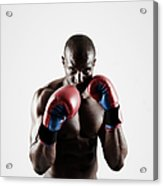 Black Male Boxer In Boxing Stance Acrylic Print