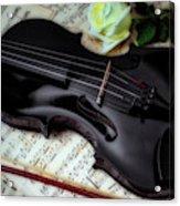 Black Violin On Sheet Music Acrylic Print