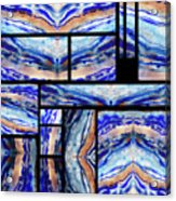 Blue Agate Mosaic Watercolor Collage Acrylic Print