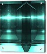 Blue Aluminum Surface. Metallic Fashion Geometric  Background Acrylic Print